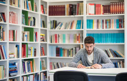 Ritratto dello studente mentre libro di lettura nella biblioteca di scuola Fotografia Stock Libera da Diritti