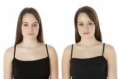 Ritratto dello studio dei gemelli adolescenti Fotografia Stock