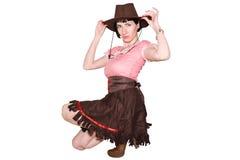 Ritratto dello studio del cowgirl Immagine Stock