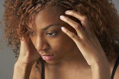 Ritratto dello studio dell'adolescente sollecitato Fotografia Stock Libera da Diritti