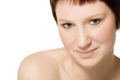 Ritratto dello studio di una donna giovane di flirt fotografia stock