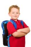 Ritratto dello zaino d'uso dello studente felice della scuola elementare Fotografie Stock Libere da Diritti