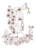 Ritratto dello zentangl dell'illustrazione di vettore delle donne giapponesi royalty illustrazione gratis