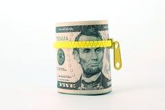 Ritratto di Abraham Lincoln sulla banconota da cinque dollari Fotografia Stock