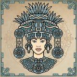 Ritratto di animazione della dea pagana basata sui motivi dell'indiano del nativo americano di arte Disegno decorativo di colore illustrazione di stock