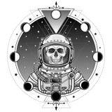 Ritratto di animazione dello scheletro dell'astronauta in una tuta spaziale Fondo - il cielo della stella, fasi della luna royalty illustrazione gratis