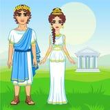 Ritratto di animazione di una famiglia in vestiti della Grecia antica royalty illustrazione gratis
