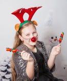 Ritratto di 10 anni di Natale della ragazza Fotografia Stock Libera da Diritti