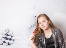 Ritratto di 10 anni di Natale della ragazza Immagini Stock Libere da Diritti