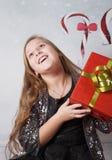 Ritratto di 10 anni di Natale della ragazza Fotografie Stock Libere da Diritti