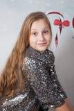 Ritratto di 10 anni di Natale della ragazza Immagini Stock