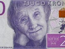 Ritratto di Astrid Lindgren sulla Svezia clos 2015 della banconota da 20 corone svedesi Immagini Stock Libere da Diritti