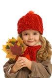 Ritratto di autunno della bambina - isolato Immagini Stock