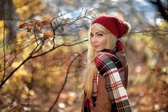 Ritratto di autunno di giovane donna Immagini Stock Libere da Diritti