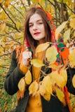 Ritratto di autunno, giovane bella ragazza con capelli lunghi in sciarpa russa e fogliame giallo fotografie stock