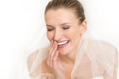 Ritratto di bei vestito da sposa e velo dalla sposa Immagine Stock