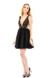 Ritratto di bella bionda in vestito nero Fotografia Stock