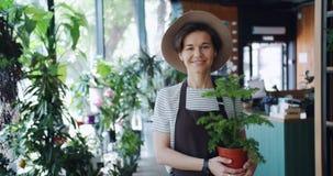 Ritratto di bella condizione della pianta da appartamento della tenuta della ragazza nel negozio di fiore stock footage