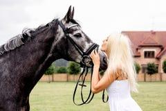 Ritratto di bella donna bionda e del cavallo grigio alle nozze Immagini Stock