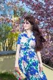 Ritratto di bella donna che posa sopra l'albero di fioritura di sakura dentro immagine stock