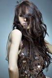 Ritratto di bella donna con capelli immagini stock