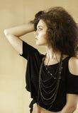Ritratto di bella donna con capelli castani dorati selvaggi che guardano al lato Immagine Stock Libera da Diritti
