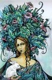 Ritratto di bella donna con coniglio bianco Fotografia Stock