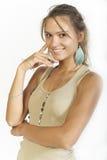 Ritratto di bella donna con lungamente Fotografia Stock