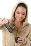 Ritratto di bella donna con tè caldo Immagine Stock