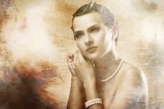 Ritratto di bella donna con vecchio effetto della foto Fotografia Stock Libera da Diritti