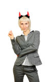 Ritratto di bella donna in corno dei diavoli Fotografia Stock Libera da Diritti