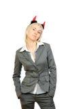 Ritratto di bella donna in corno dei diavoli Immagine Stock Libera da Diritti