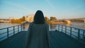 Ritratto di bella donna d'avanguardia dei pantaloni a vita bassa della corsa mista Gode della vista del fiume della città che cam video d archivio