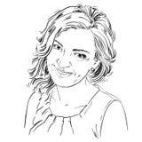 Ritratto di bella donna delicata, vettore in bianco e nero royalty illustrazione gratis