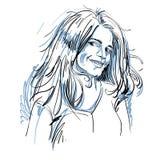 Ritratto di bella donna di flirt delicata, del nero e del briciolo illustrazione di stock