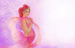 Ritratto di bella donna incinta Illustrazione di Stock