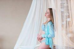Ritratto di bella donna incinta Fotografia Stock Libera da Diritti