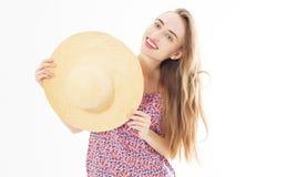 Ritratto di bella donna isolata Ragazza di risata Concetto di ora legale fotografia stock