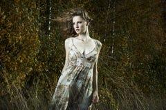 Ritratto di bella donna in legno Fotografia Stock