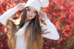 Ritratto di bella donna nel parco di autunno immagini stock libere da diritti