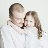 Ritratto di bella famiglia: padre e figlia Fotografia Stock Libera da Diritti