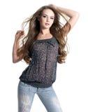 Ritratto di bella giovane donna alla moda Immagine Stock Libera da Diritti
