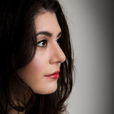 Ritratto di bella giovane donna castana Lookng nel Camer Immagine Stock