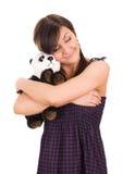 Ritratto di bella giovane donna con il giocattolo fotografia stock libera da diritti
