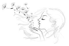 Ritratto di bella giovane donna dai capelli lunghi illustrazione di stock