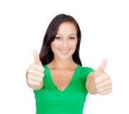 Ritratto di bella giovane donna di successo che dà i pollici su Fotografie Stock Libere da Diritti