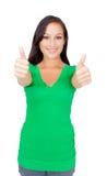 Ritratto di bella giovane donna di successo che dà i pollici su Fotografia Stock Libera da Diritti