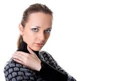Ritratto di bella giovane donna su bianco Immagini Stock Libere da Diritti