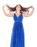 Ritratto di bella giovane donna in vestito blu con il flusso continuo immagini stock