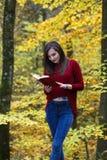 Ritratto di bella giovane ragazza castana che legge un libro in Immagini Stock